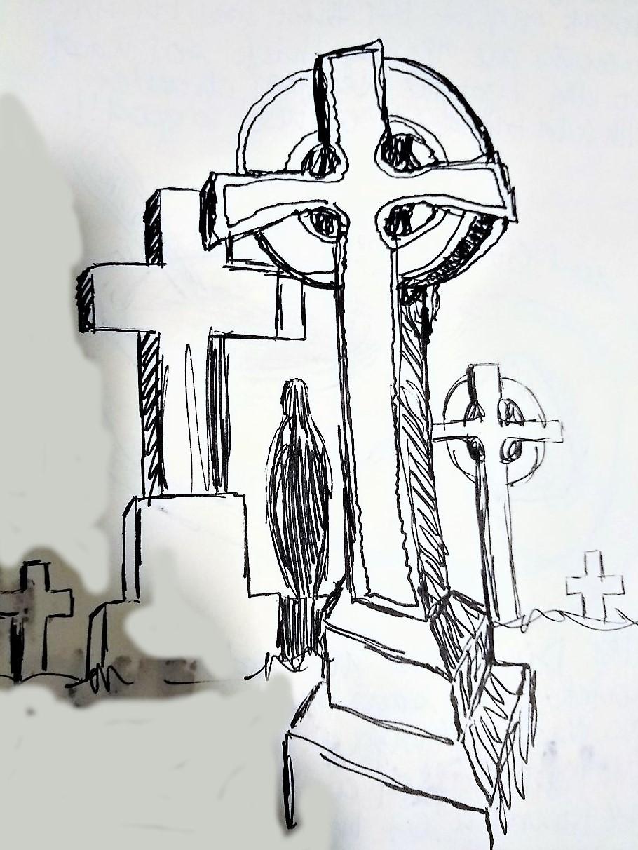 rock of cashel graveyard sketch kiana poole