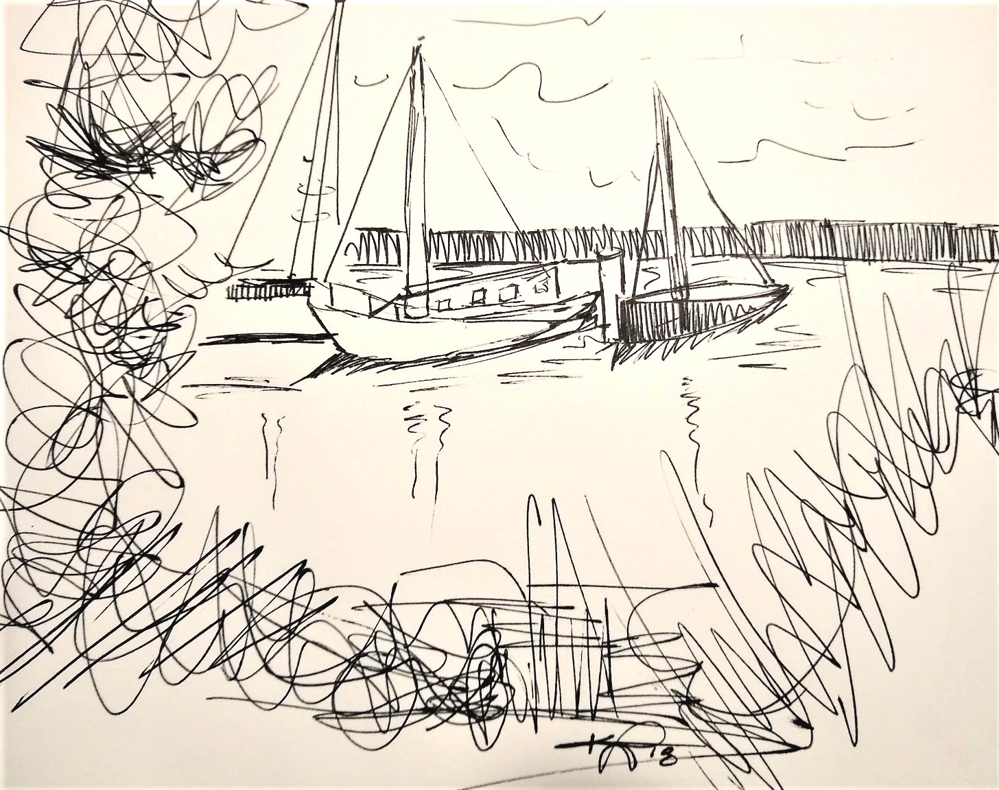 howth harbor sketch kiana poole