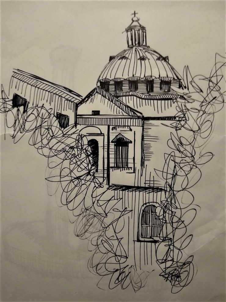roman skyline sketch